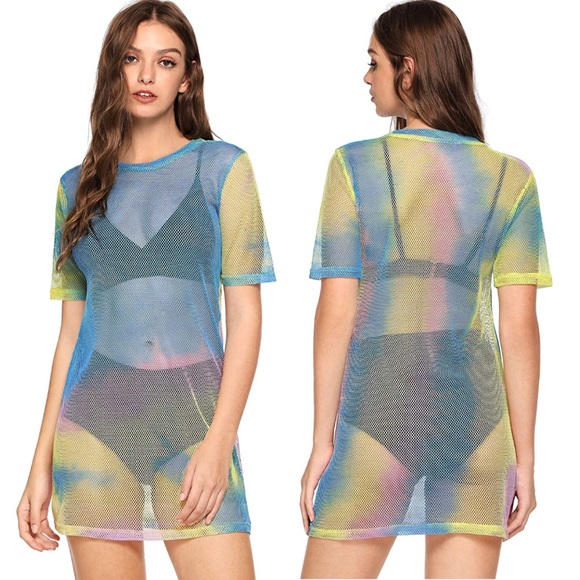 76fc0470101 Rainbow mesh🌈 fishnet festival dress beach cover. Boutique. Urban  Outfitters